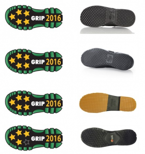 Star ratings (left) and sole designs for Shoes for Crews and Keuka footwear