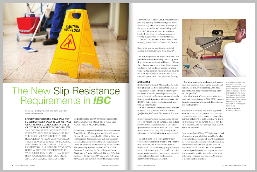 Construction Specifier magaize article - slip and fall