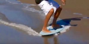 Skimboarder on surface with good DCOF rating